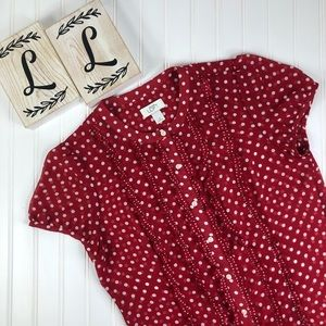Ann Taylor Loft Red White Polka Dot Sheer Blouse